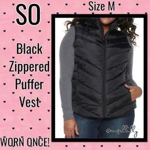 SO Black Zippered Puffer Vest EUC